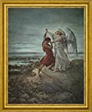 "Jacob Wrestling with the Angel by Gustave Dore - 15"" x 19"" Framed Premium Canvas Print"