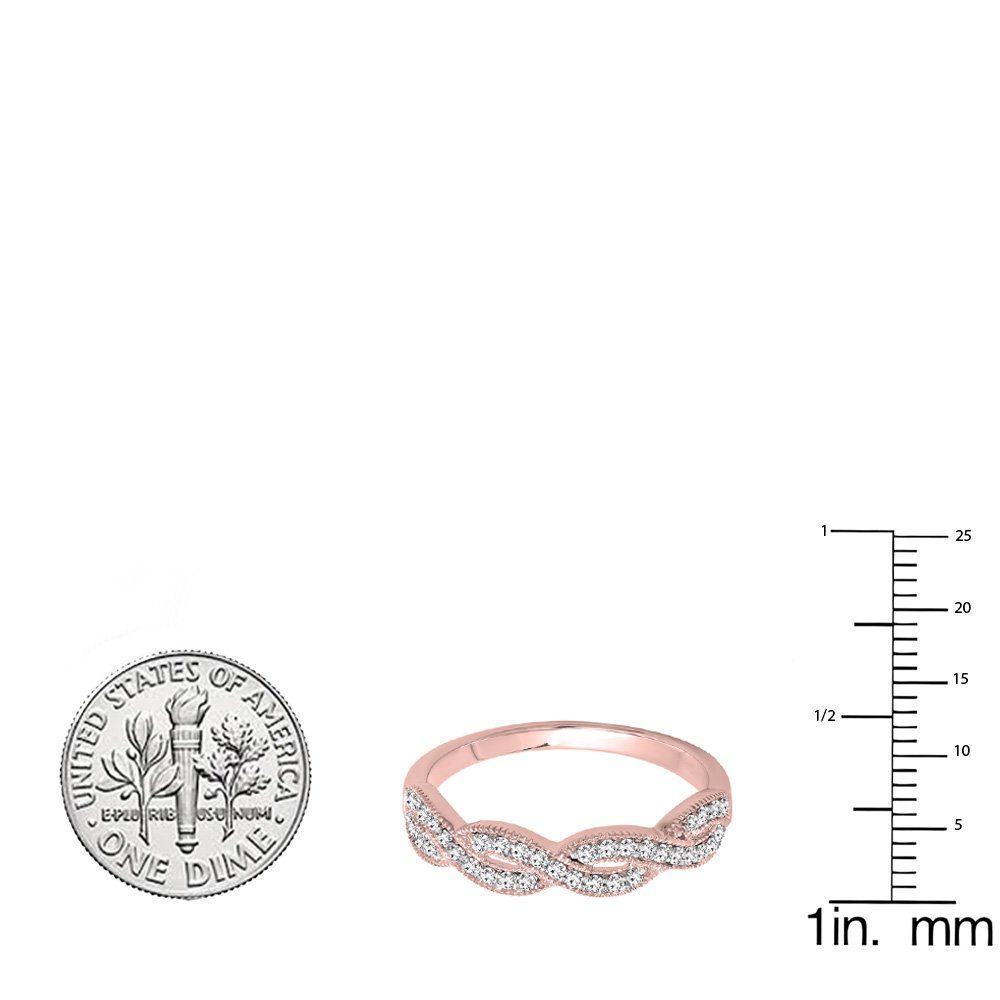 0.60 Carat (ctw) 10K Rose Gold Round Cubic Zirconia Ladies Bridal Wedding Band Swirl Ring (Size 8) by DazzlingRock Collection (Image #3)