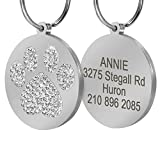 Didog Pretty Rhinestone Paw Print Round Pet ID Tags Dogs Cats,Free Engraved Gifts,White