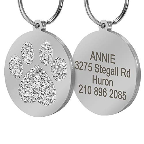 Didog Pretty Rhinestone Paw Print Round Pet ID Tags for Dogs