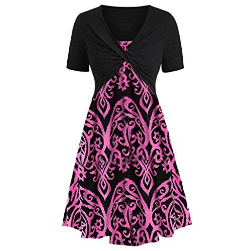 Huifa Ladies Fashion Short Sleeve Front Criss Cross Top with Floral Print Mini Dress (Hot Pink,XL)