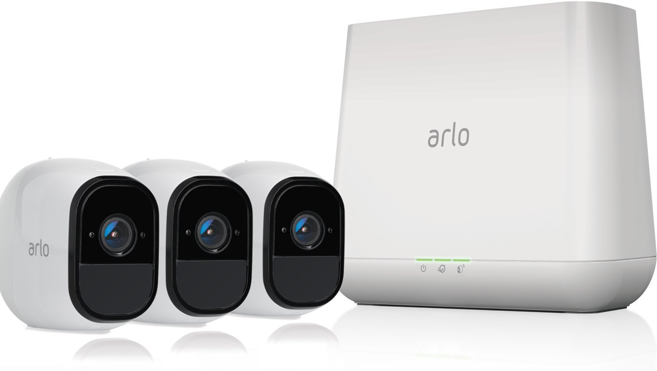 Arlo Pro by NETGEAR Security System with Siren – 3 Rechargeable Wire-Free HD Cameras with Audio, Indoor/Outdoor, Night Vision (VMS4330) by NETGEAR
