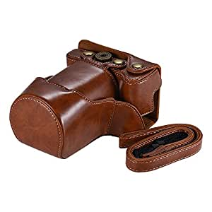 QKOO PU Leather Camera Bag Case Full Body Cover with Adjustable Neck Strap for Canon EOS M6 -Brown