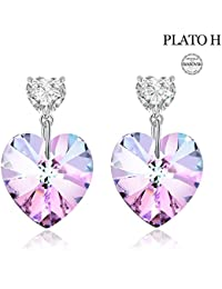 Earring For Woman PLATO H Love Heart Drop Dangle Earrings with Swarovski Crystals Women Fashion Jewelry Mothers Day Gift for Mom