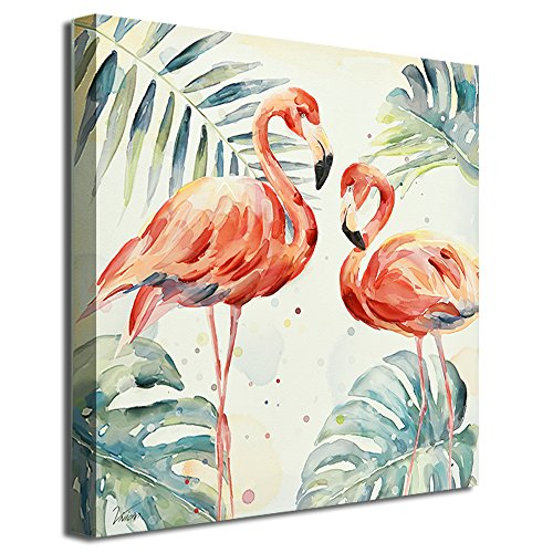 (Crescent Art Framed Watercolor Tropical Wildlife Animal Pink Flamingo Bird Painting on Canvas Print Picture Wall Art for Living Room Wall Decoration Home Accent (24 x 24 inch, A Framed))