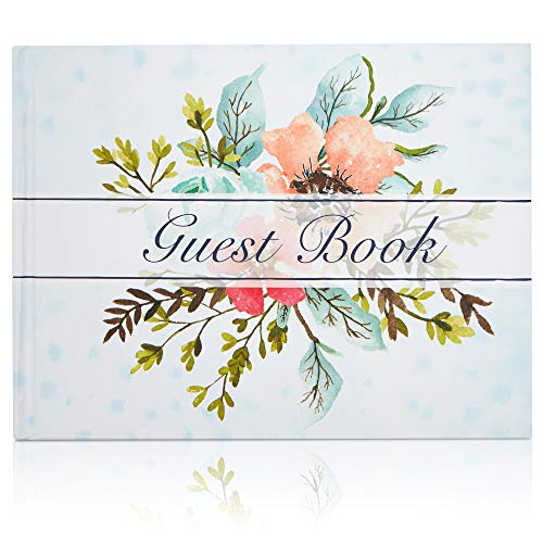 Guest Book - 56-Sheet Wedding Guest Book for Business Banquet, Baby Shower, Graduation Party, Floral Print Design, 8.3 x 6.25 x 0.45 Inches
