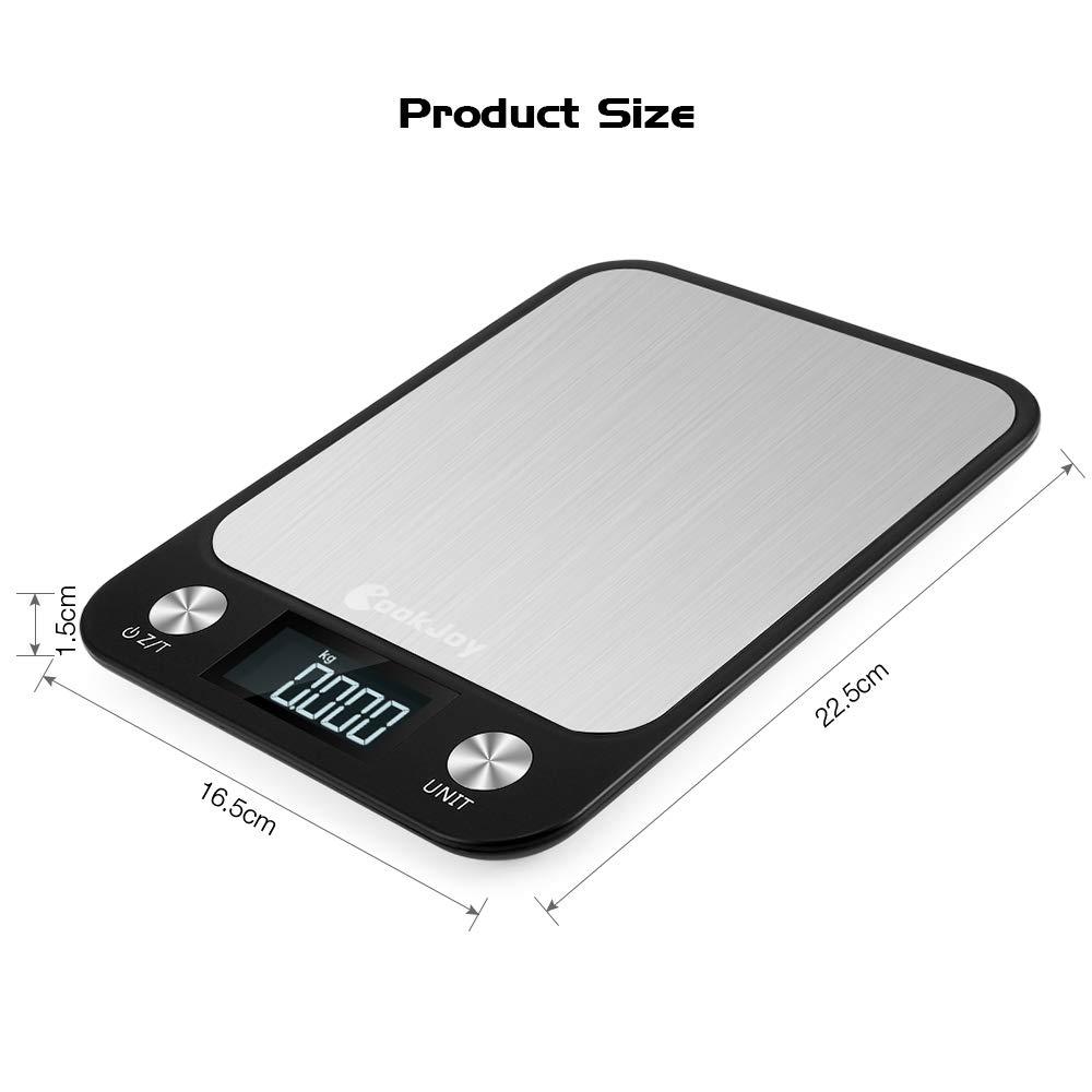 CookJoy Bascula Cocina Digital Peso Cocina Digital Báscula Digital Acero Inoxidable con Gran Pantalla LCD Balanza Cocina Multifuncional Escala de Alimentos ...