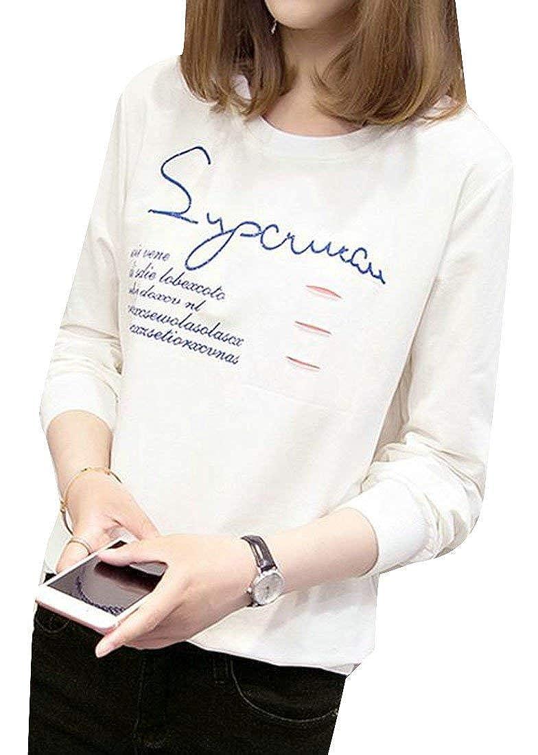 ab632e0561f4d8 durable modeling Starsace Frauen Herbst Casual Langarm Crewneck Brief Print  Pullover Sweatshirt (Farbe : White