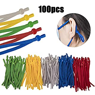 100 Pieces Elastic String for mask with Adjustable Buckle for Sewing Crafting, High Elasticity Stretchy Face Cover Earloop Earmuff String Rope, Elastic Band Cord for DIY Mask,Multi Color