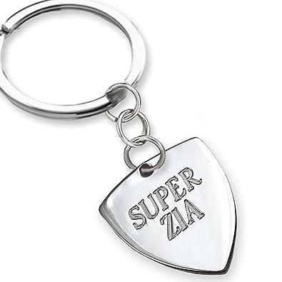 Llavero de plata Super Zia, Idea regalo para Le Zie: Amazon ...