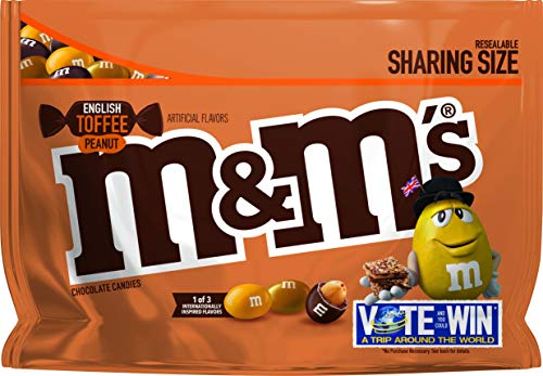 M&M's Chocolate Candy Flavor Vote English Toffee Peanut Sharing Size, 9.6 Ounce Bag]()
