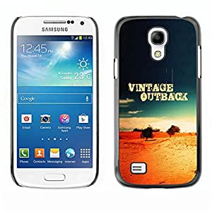 Qstar Arte & diseño plástico duro Fundas Cover Cubre Hard Case Cover para SAMSUNG Galaxy S4 mini VERSION! / i9190 / i9192 ( Vintage Outback Quote Desert Landscape Nature)