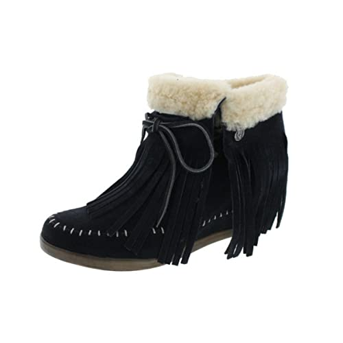 26e24071ff8b Koolaburra Womens Mocky Moc Suede Sheepskin Wedges Moccasin Boots   Amazon.ca  Shoes   Handbags