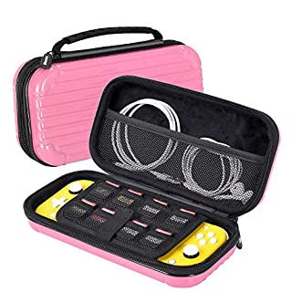 iHosok Carrying case for Nintendo Switch lite Console - Portable Travel Hard Shell Protective case with 8 Game Card Slots & Storage for Accessories-Pink/Coral