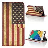 Kit Me Out CAN® Samsung Galaxy A5 (2016) [PU Leather] Protective Book Folio Flip Case Cover - Red / White / Blue Stars And Stripes USA Flag