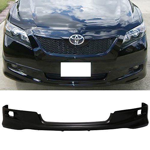 Front Bumper Lip Fits 2007-2009 Toyota Camry | Factory SE Style Black PU Front Lip Finisher Under Chin Spoiler Add On by IKON MOTORSPORTS | 2008 ()