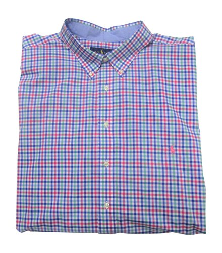RALPH LAUREN Men's Dress Shirt Big Tall Long Sleeve Poplin Stretch Cotton (5XB, Blue/Pink) ()