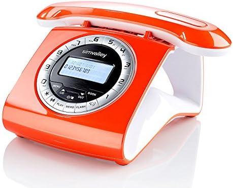 Retro – Teléfono inalámbrico DECT con contestador automático, color naranja: Amazon.es: Electrónica