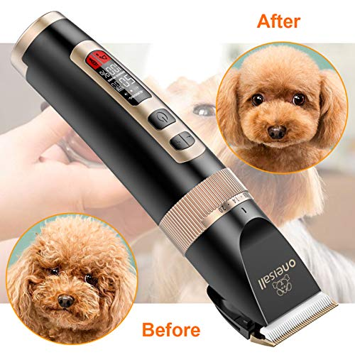 oneisall Dog Clippers Professional, 3-Speed Quiet Rechargeable Cordless Pet Grooming Hair Clippers Set for Small and Large Dogs Cats-Black by oneisall (Image #5)