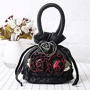 Redland Art Women's Fashion Flower Mini Clutch Bucket Bag Wristlet Evening Handbag Catching Purse Bag for Wedding Party (Color : A009)