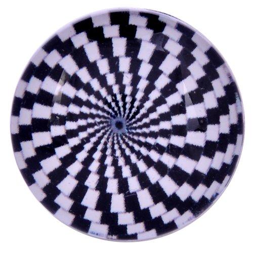 Morella Verre Unisexe click-button Bouton Pression spirale Noir et blanc
