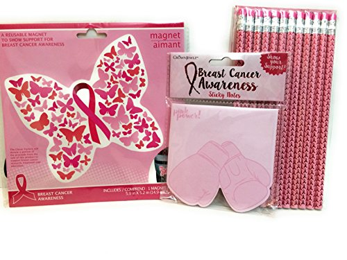 Pink Ribbon Breast Cancer Awareness 3 pc. Set - Sticky Notes, Pencils, and (Breast Cancer Ribbon Sticky Notes)