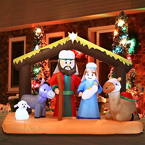 Joiedomi Christmas Inflatable Decoration 6.5 ft Nativity Scene Inflatable with Build-in LEDs Blow Up for Christmas, Party Indoor, Outdoor, Yard, Garden, Lawn Décor. (Outdoor Decoration Event)