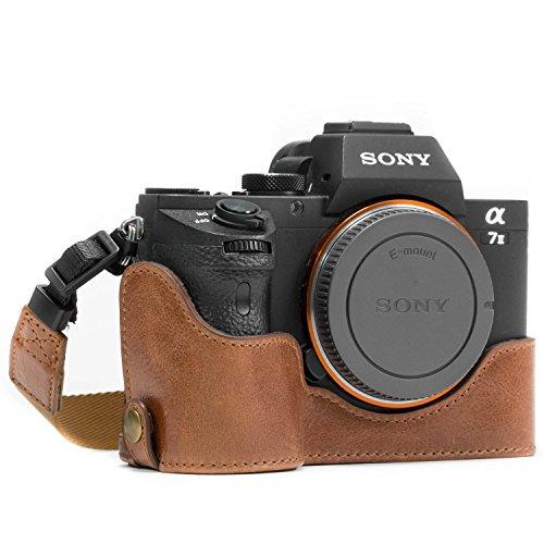MegaGear MG1130 Sony Alpha A7S II, A7R II, A7 II Genuine Leather Camera Half Case and Strap - Dark Brown