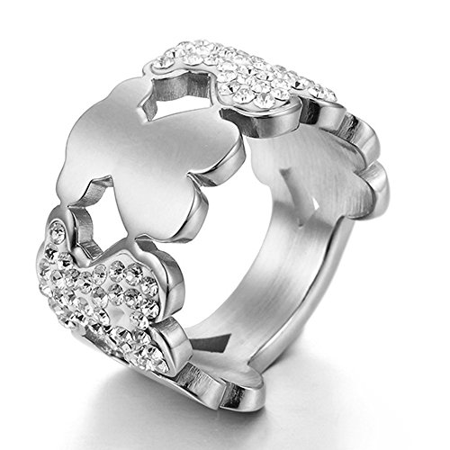 n Jewelry Hot Sale White Diamond Bear 316L Stainless Steel Ring (Hot Fashion Rings)