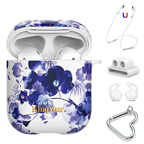 AirPods Case Sparkle Crystal from Swarovski 5 in 1 Covers for Apple AirPods 2 & 1,Hard PC Protective Orchid Floral Case for Girl and Women with Keychain/Strap/Earhooks/Watch Band Holder by KINGXBAR