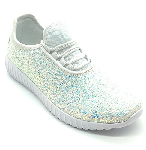 Forever Link Women's REMY-18 Glitter Fashion Sneakers White -