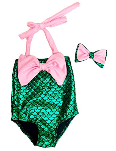 [CANIS Little Girls One Piece Mermaid Costume Swimwear Bikini with Headband (90(2-3Y), Pink)] (Little Mermaid Costume Child)