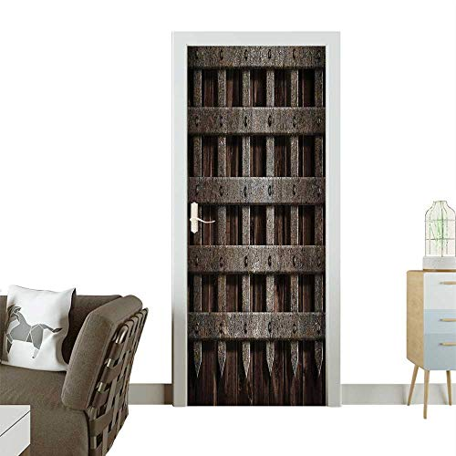 Door Sticker Wall Decals dieval Wooden Castle Wall Metal Gate Greek Mid Century Easy to Peel and StickW36 x H79 INCH
