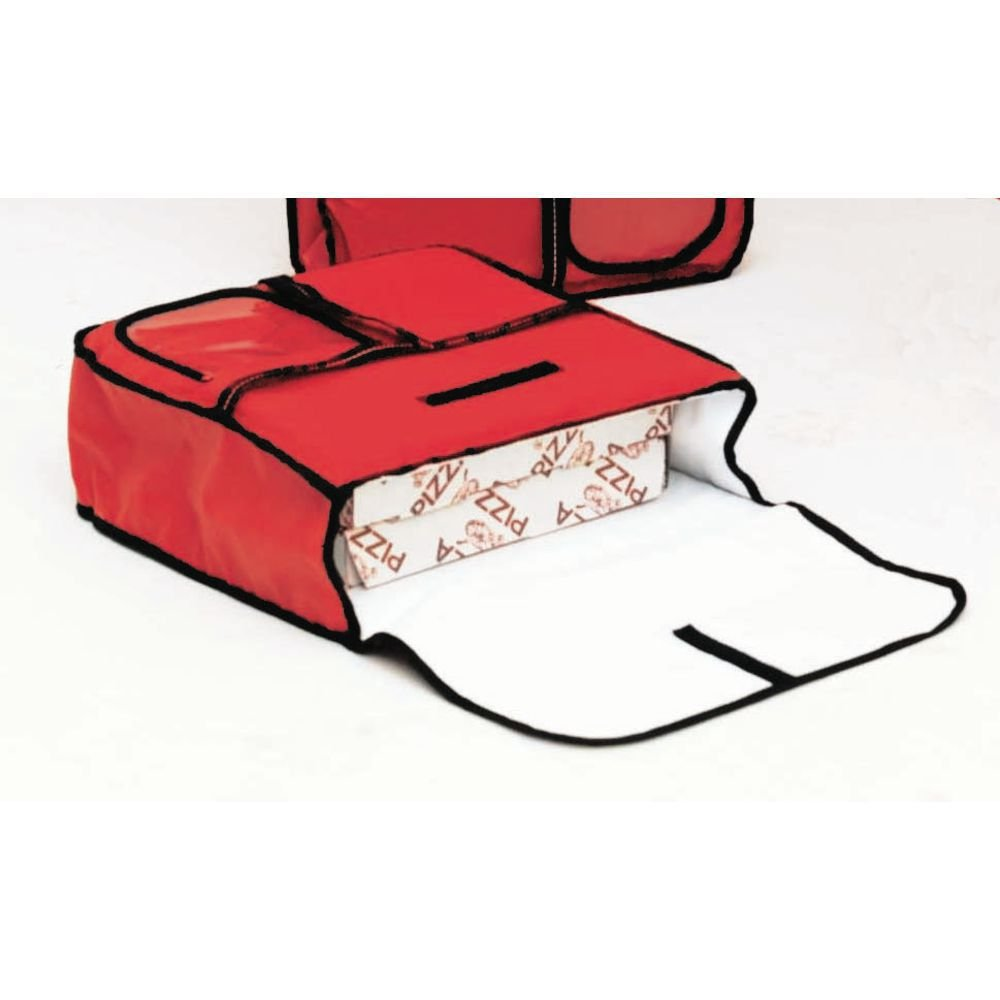 Carry Hot Red Vinyl Pizza Delivery Bag - 24''L x 24''W x 6''H