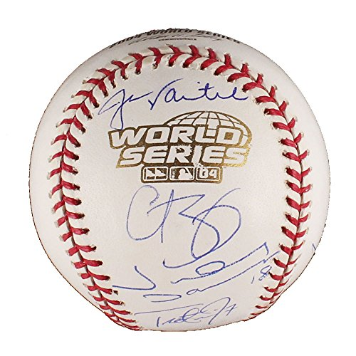 (2004 Boston Red Sox Team Signed by 5 Official World Series MLB Baseball STEINER)