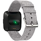 Canvas Watch Band Strap With Buckle Connector For Fitbit versa Sport Smartband