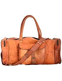"crafat 28"" 100% Pure Leather Unisex Travel Brown Casual Duffle / Gym Bag"
