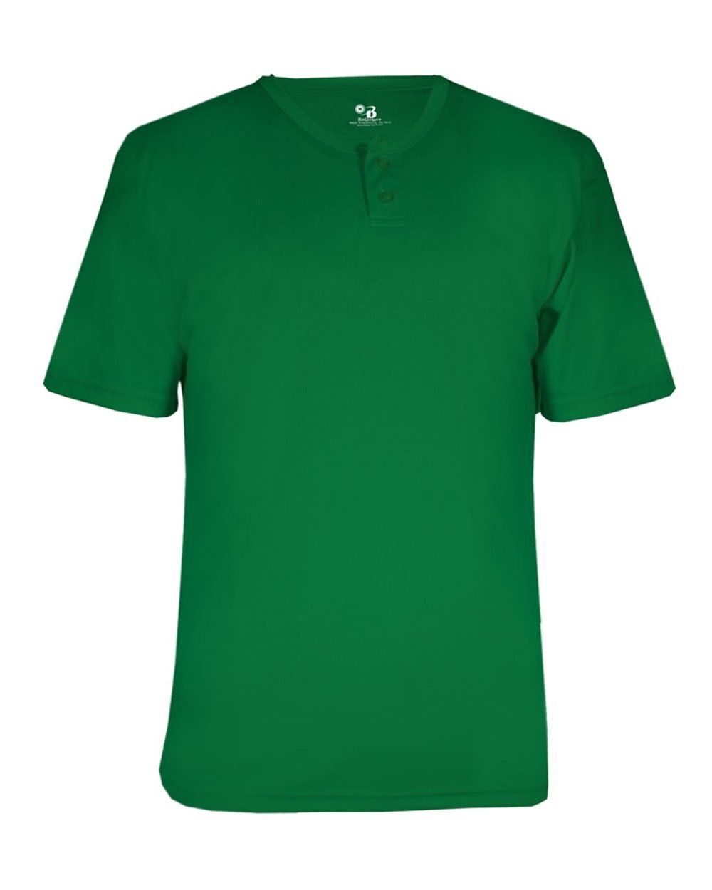 Badger Men's Two-Button Placket Performance Jersey, KELLY GREEN, M