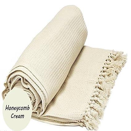 Bedspread Sofa Blanket Waffle Bed 100/% Cotton Honeycomb Throw