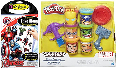 Pack Super Party Comics Superhero Deluxe (Colorforms Marvel Avengers super hero Stickable set & Play-Doh Marvel Heroes Assemble with Can-Heads Activity)