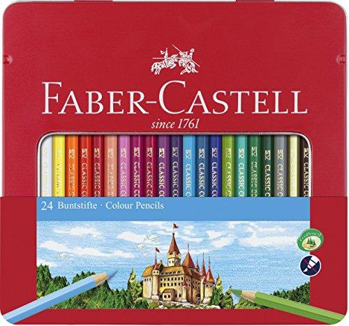 Faber-Castell 115824Hexagonal-Colouring Pencils Metal Case of 24