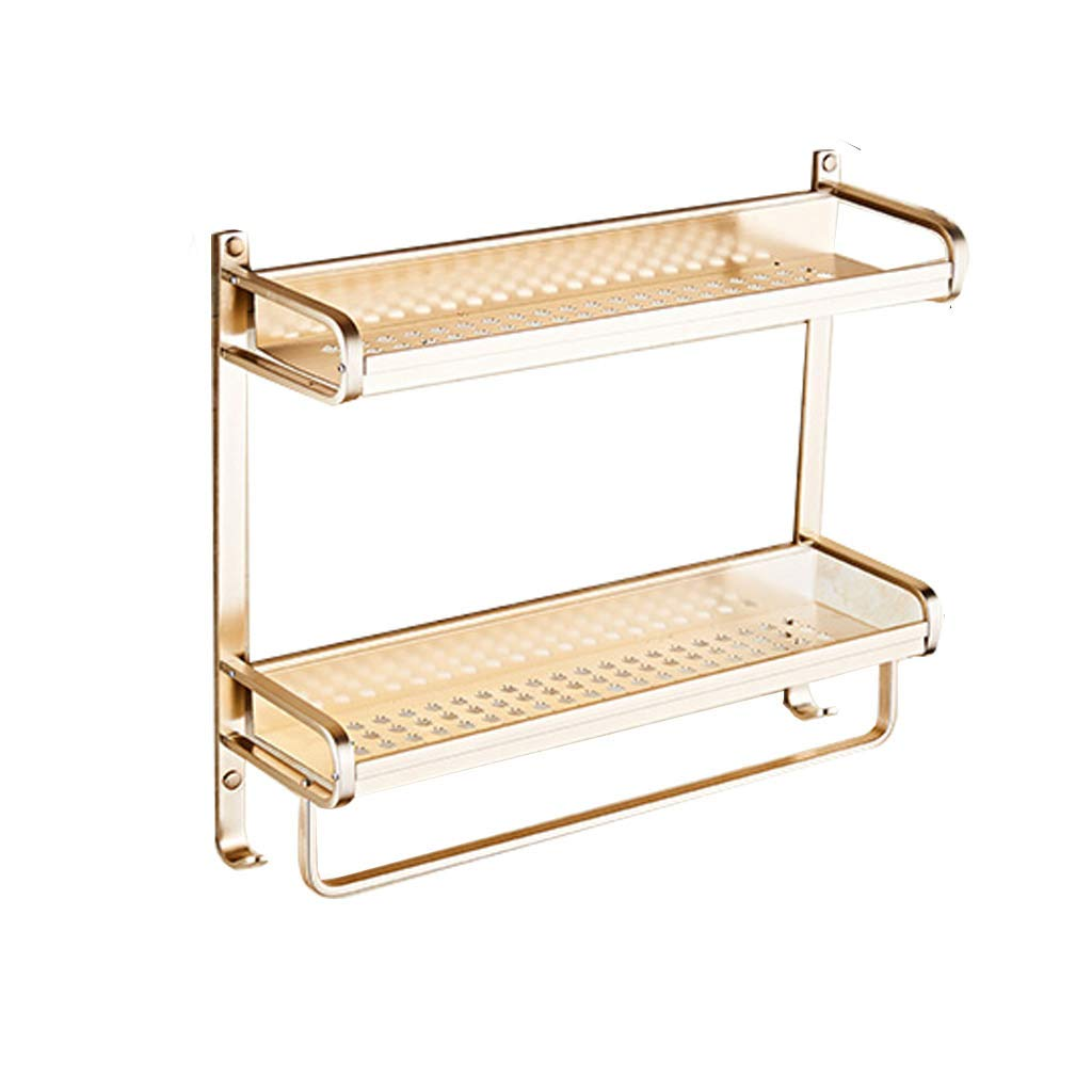 GAOYANG Bathroom Shelf, Bathroom Storage Rack Towel Rack Washing Table Corner Frame Wall-Mounted Function Bathroom Hardware Accessories Double Layer, Aluminum Alloy, Gold (Size: 5017.614CM)