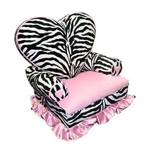Amazon Com Newco Kids Princess Heart Chair Minky Zebra Baby