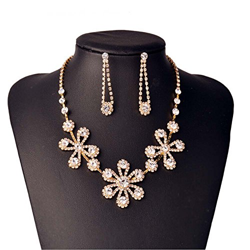 STI-JEWELS Luxury Super Shiny Rhinestone Necklace,Gold earrings and necklace jewelry set For Women girls