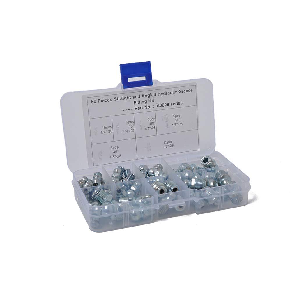 50PCS mé trique hydraulique Graisse Zerk Set Assortiment Montage zingage Huile Buse Kit Set Regard Regard Natral 201874614940944