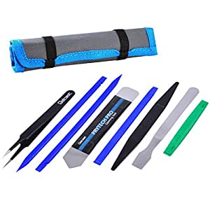 Professional Opening Pry Tool Repair Kit with Non-Abrasive Nylon Spudgers and Anti-Static Tweezers, 8 Piece Set