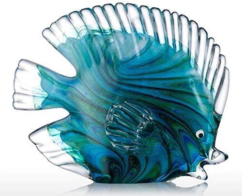Estatuas Decorativas de vidrio azul peces tropicales decoración del hogar arte 4