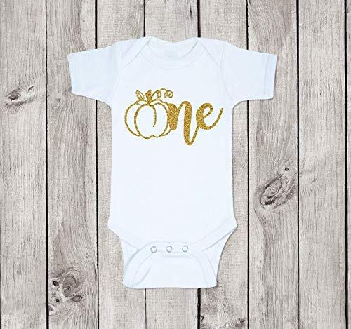 1st Birthday Pumpkin Onesie, One Onesie, Gold Glitter Pumpkin Onesie