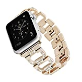 Rockvee Compatible Apple Watch Bling Band Woman, Metal Replacement Wristband Bracelet Bands Nike+, Series 3, Series 2, Series 1, Sport, Edition, 38mm & 42mm, Silver, Black, Champagne Gold, Pink