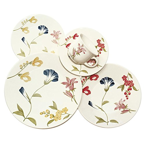 Oxford 20 Piece May Collection Biona Dinnerware Set (Floral Bone Dish)